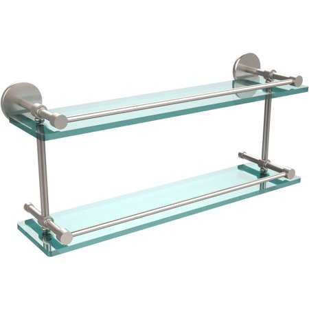 "22"" Tempered Double Glass Shelf with Gallery Rail (Build to Order)"