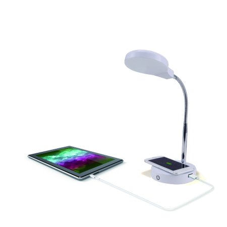 Mainstays LED Desk Lamp with Qi Wireless Charging and USB Port, White