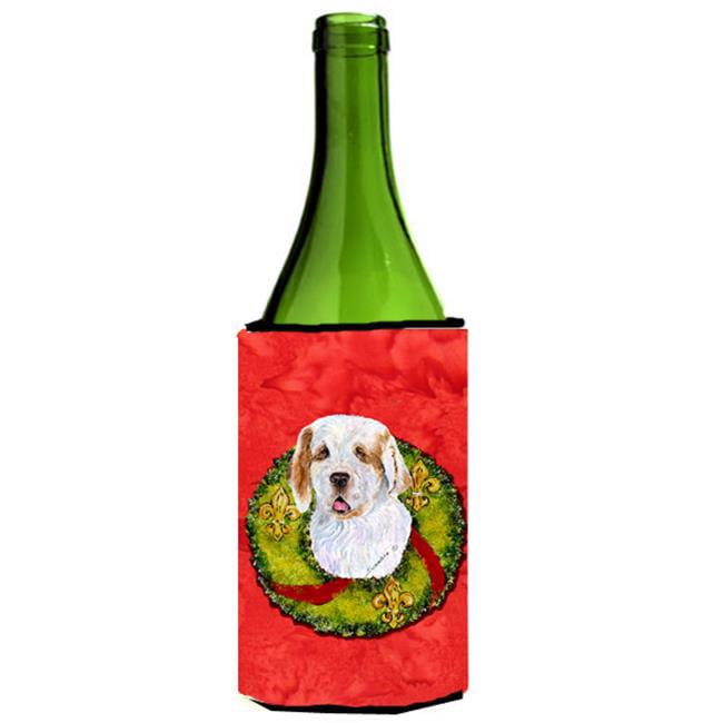 Clumber Spaniel Christmas Wreath Wine bottle sleeve Hugger - 24 oz. - image 1 de 1