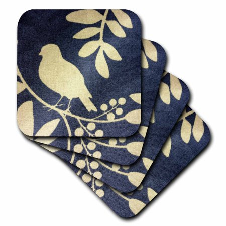 3dRose Ivory Bird On Navy Blue, Soft Coasters, set of 4