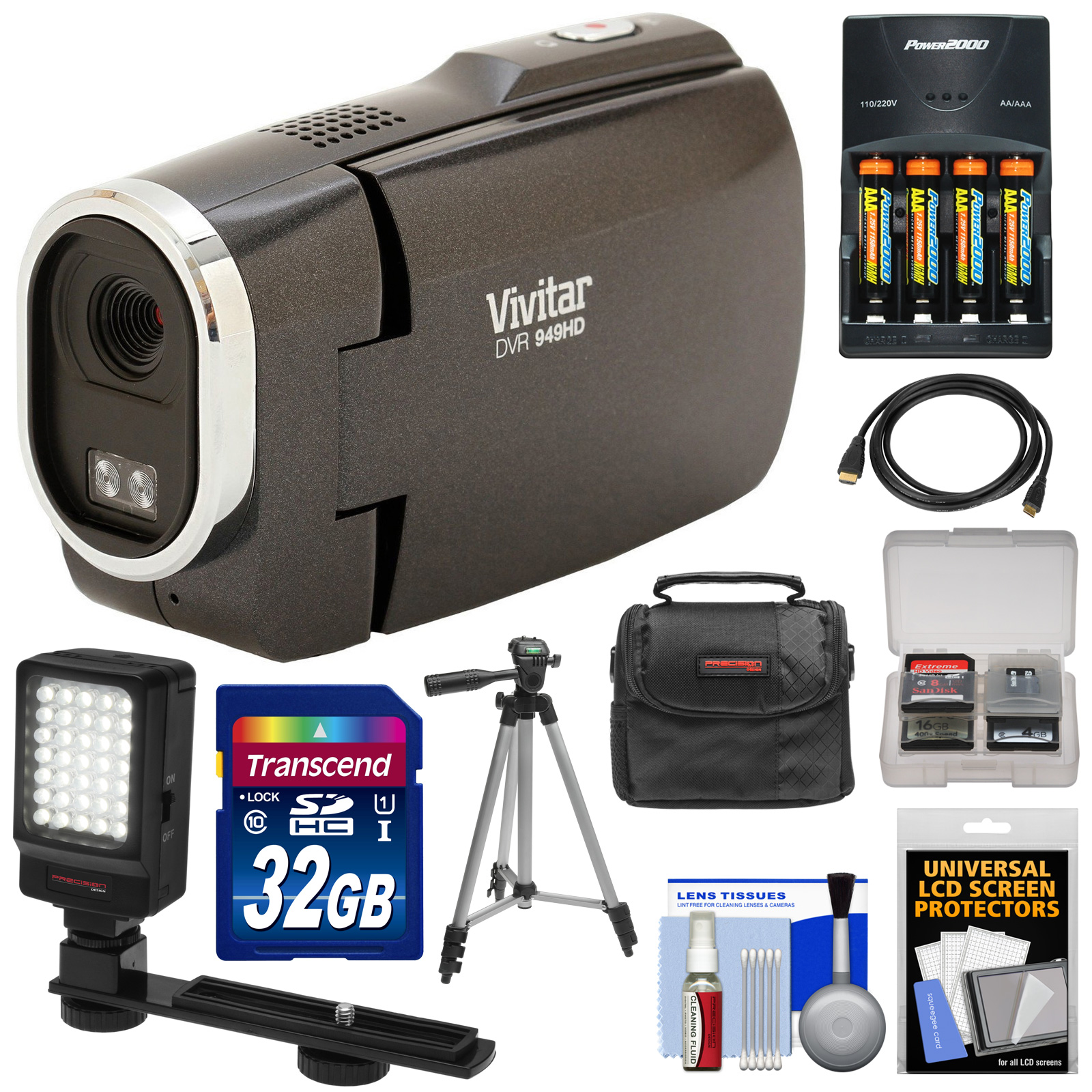 Vivitar DVR949HD 1080p HD Video Camera Camcorder (Black) with 32GB Card + Batteries & Charger + Case + Tripod + LED Video Light + Kit