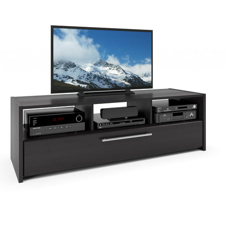 CorLiving Naples Wood Grain Black TV Stand for TVs up to 68