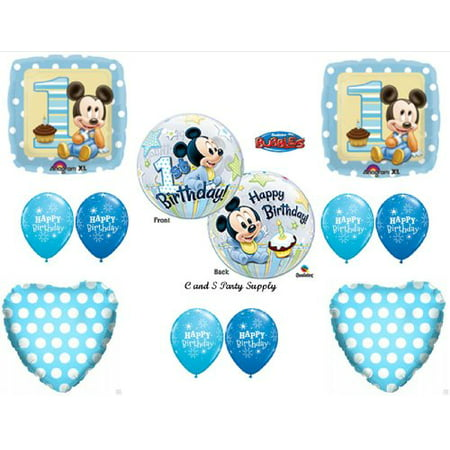 NEW!! Baby Mickey Mouse Birthday 1st First Party Balloons Decorations Supplies - Baby Mickey First Birthday