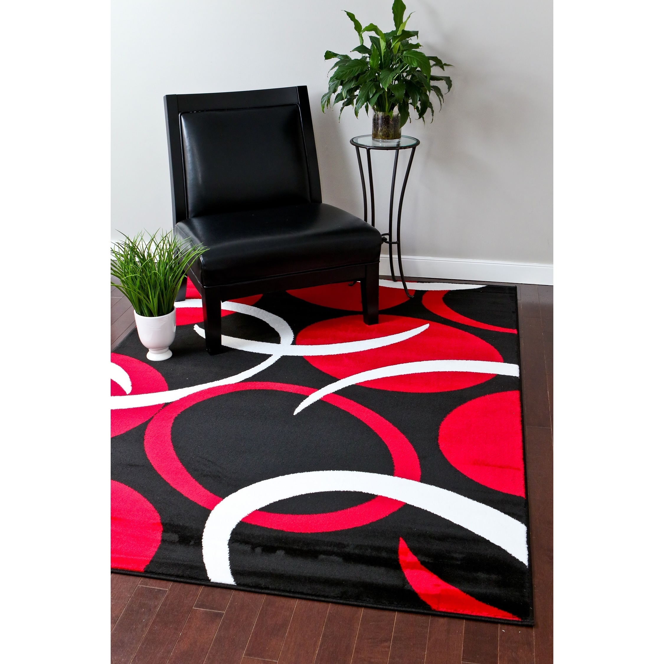 Persian Rugs 1062 Red Swirls Modern Abstract Area Rug 8x11