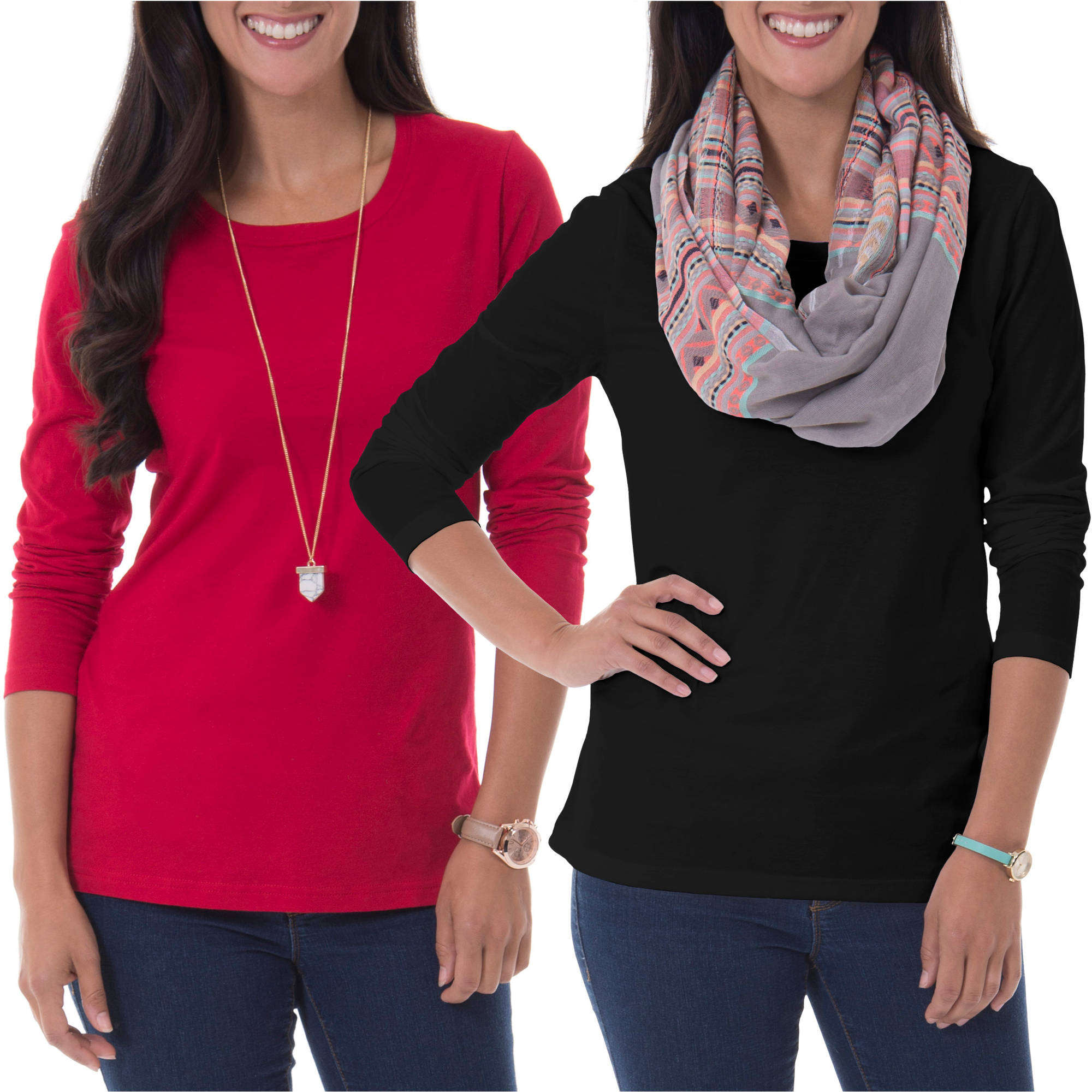 Faded Glory Women's Essential Long-Sleeve Crewneck Tee 2-Pack Value Bundle