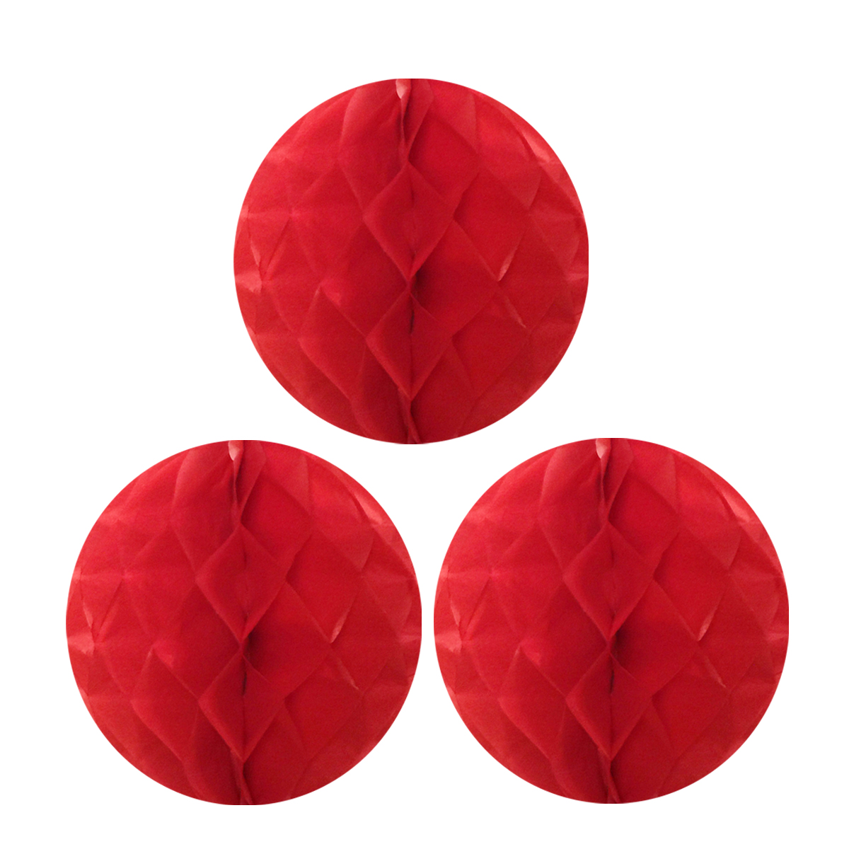 "Wrapables® 10"" Set of 3 Tissue Honeycomb Ball Party Decorations for Weddings, Birthday Parties, Baby Showers, and Nursery Décor, Red"