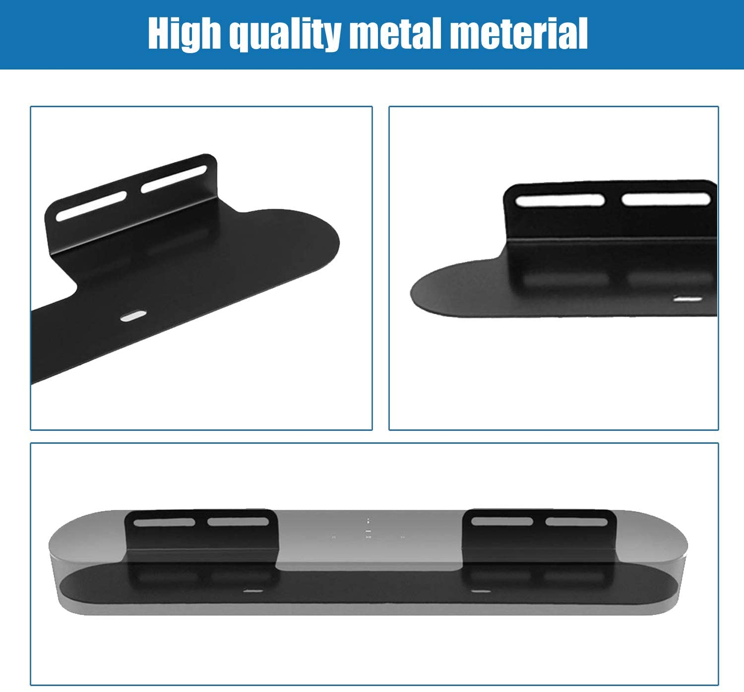 Wall Mount for Sonos Beam Soundbar Sturdy Metal Mounting Bracket Compatible with Sonos Beam Sound Bar TV Wall Mounts White