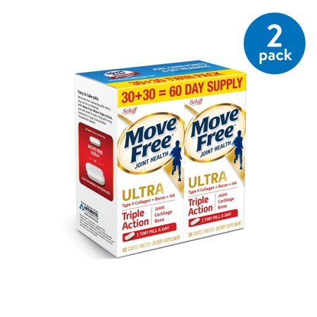 (2 Pack) Move Free Ultra Triple Action, 60 count (2x30ct Twin Pack) - Joint Health Supplement with Type II Collagen, Boron and HA, One Tiny Pill