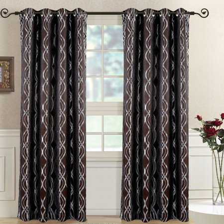 Regalia Abstract Jacquard Textured Grommet Top Curtain Panels (Set of 2) -W104