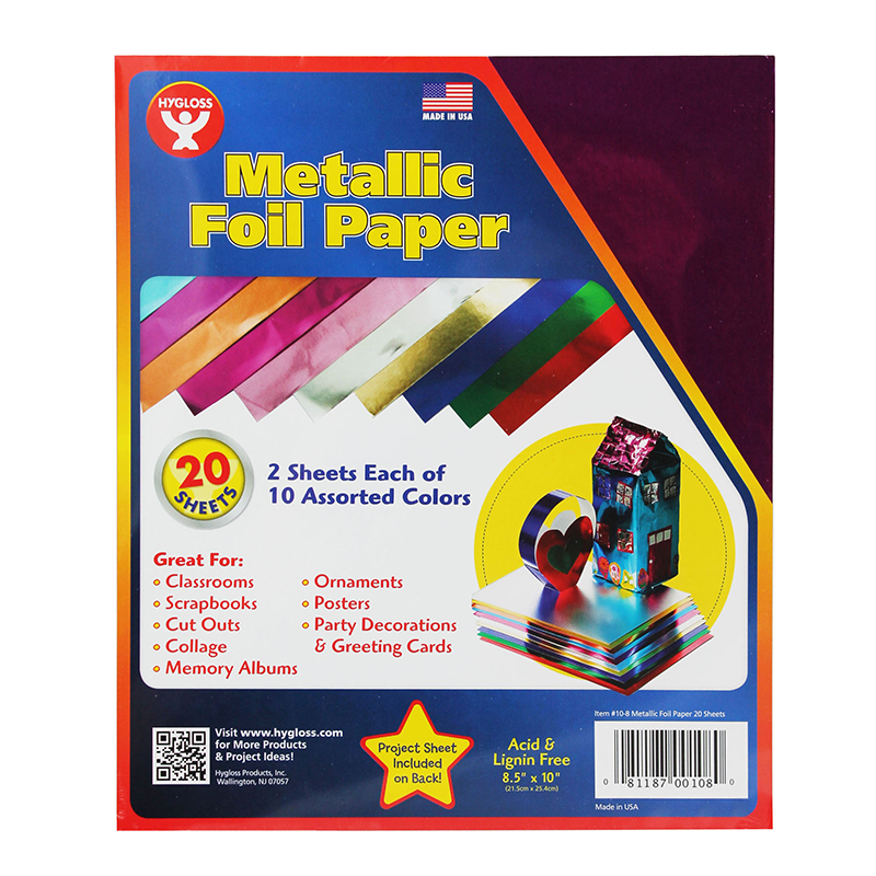 "Metallic Foil Paper, 8.5"" x 10"", 10 Colors, 20 Sheets/Pack, 6 Packs"