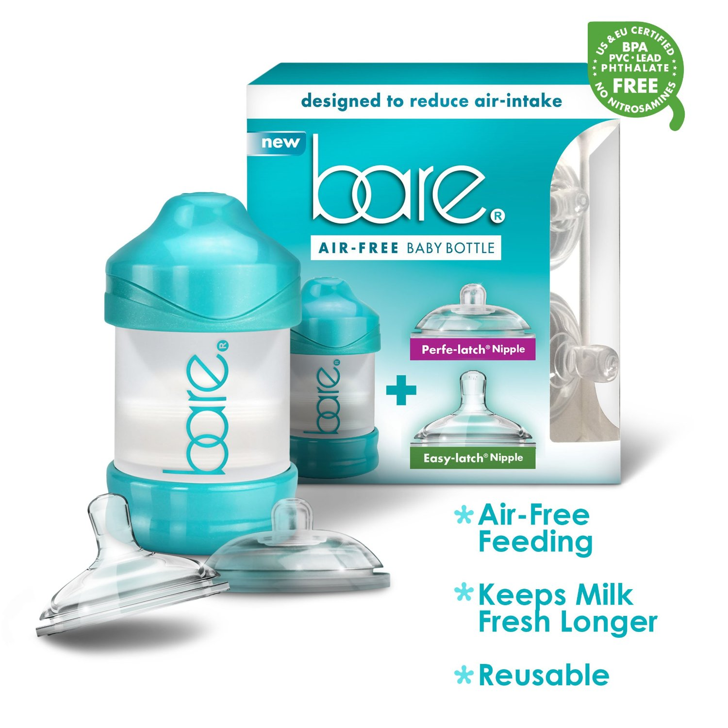 BARE Air-free 4oz Single Pack with Perfe-latch & Easy-latch Nipples, Breast-like & Air-free by BARE AIR-FREE FEEDING SYSTEM
