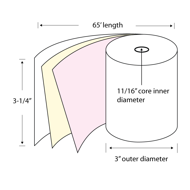 """3-1 4"""" x 65' 3-Ply Carbonless Paper POS Rolls (Carton of 50 Rolls) by TST Impreso"""