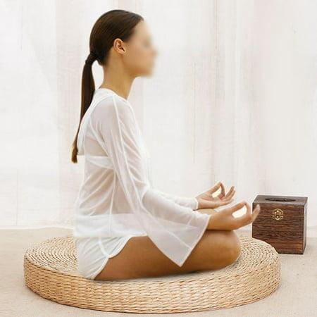 Ymiko 40cm Round Pouf Tatami Cushion Floor Cushions Straw Meditation Soft Yoga Mat , Tatami Cushion, Meditation Soft Yoga (Floor Cushions)