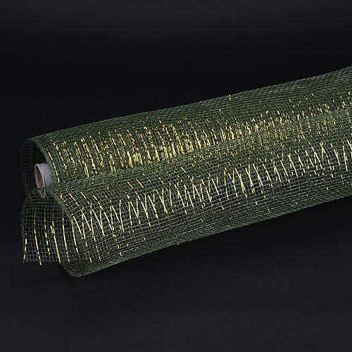 Moss Green Gold Line  - Deco Mesh Wrap Metallic Stripes -  ( 21 Inch x 10 Yards )