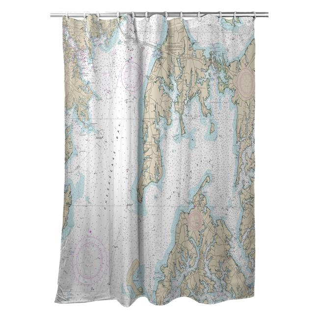 Betsy Drake SH12270OKI Kent Island, MD Nautical Map Shower Curtain - 70 x 72 in. - image 1 of 1