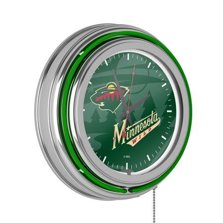NHL Chrome Double Rung Neon Clock - Watermark - Minnesota Wild�