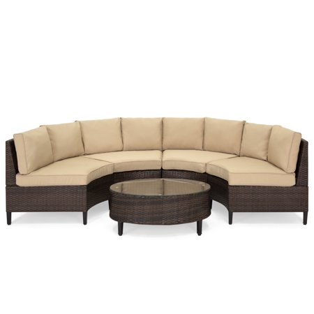 Best Choice Products 5-Piece Modern Outdoor Patio Semi-Circle Wicker Sectional Sofa Set w/ 4 Seats, Coffee Table -