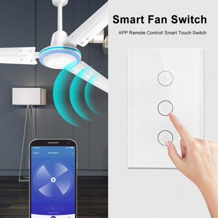 Tuya WiFi Smart Ceiling Fan Switch /AU Smart Touch Switch Timer APP Remote  Control Speed Adjustable Compatible with , Home Voice Control