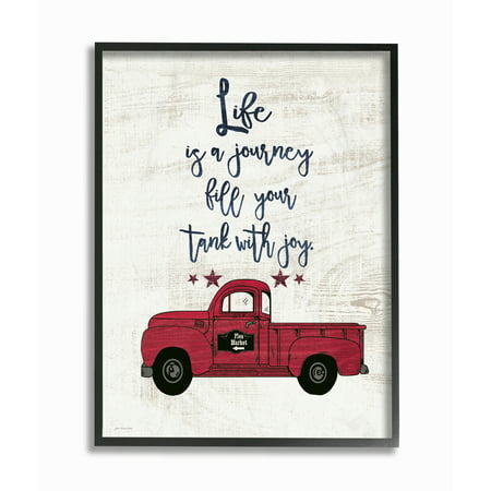 The Stupell Home Decor Collection Fill Your Tank With Joy Vintage Truck Illustration Framed Giclee Texturized Art, 11 x 1.5 x 14