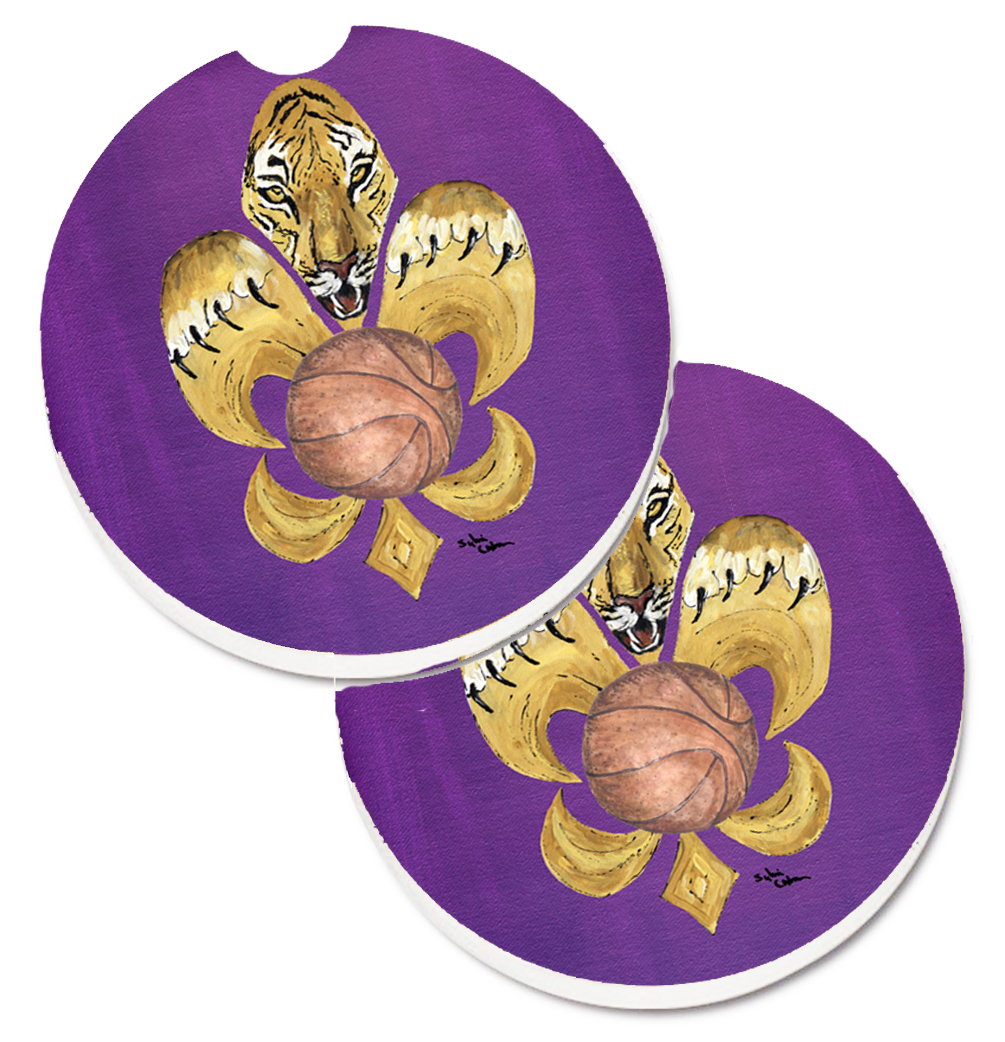 Tiger Fleur de lis Basketball Set of 2 Cup Holder Car Coasters 8478CARC