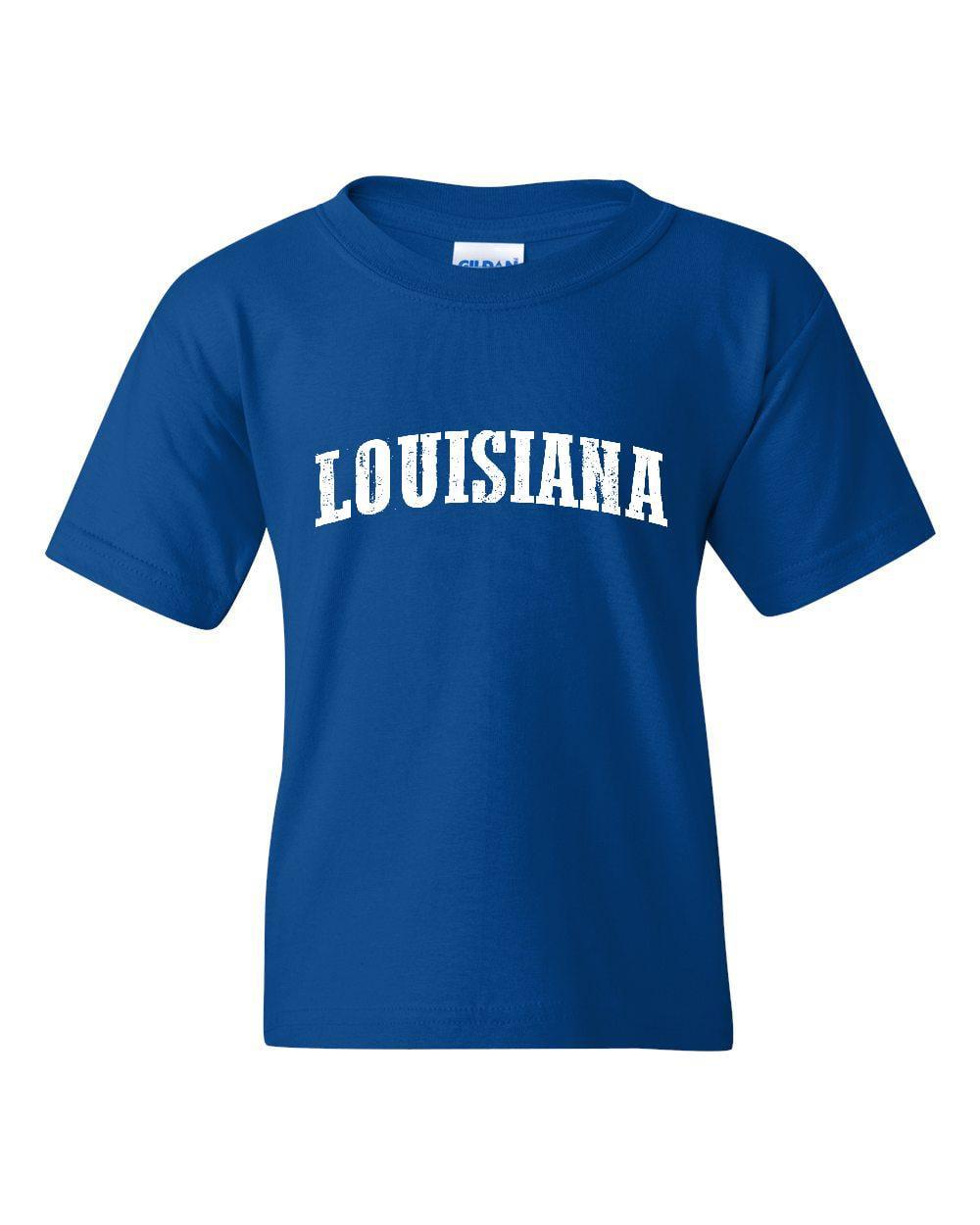 J_H_I LA Map New Orleans Flag Baton Rouge Home of University of Louisiana  Unisex Youth Shirts