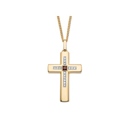 .95 TCW Square-Cut Genuine Red Garnet and Cubic Zirconia Cross Pendant Necklace 14k Gold-Plated (Garnet Cross)