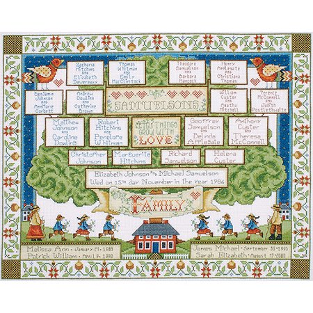 Tobin Family Tree Counted Cross Stitch Kit, 16