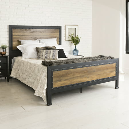 Manor Park Industrial Wood and Metal Queen Size Bed - Rustic Oak Dark Oak Panel Bed