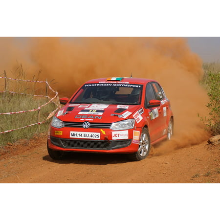 Canvas Print Racing India Sports Car Rally Dirt Stretched Canvas 10 x