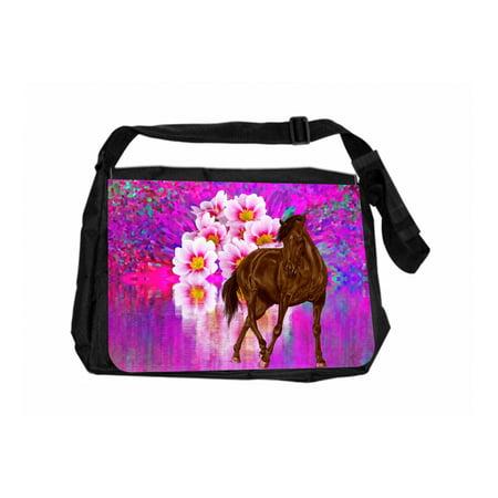 Horse And Flower Lake Jacks Outlet TM Laptop Messenger Bag
