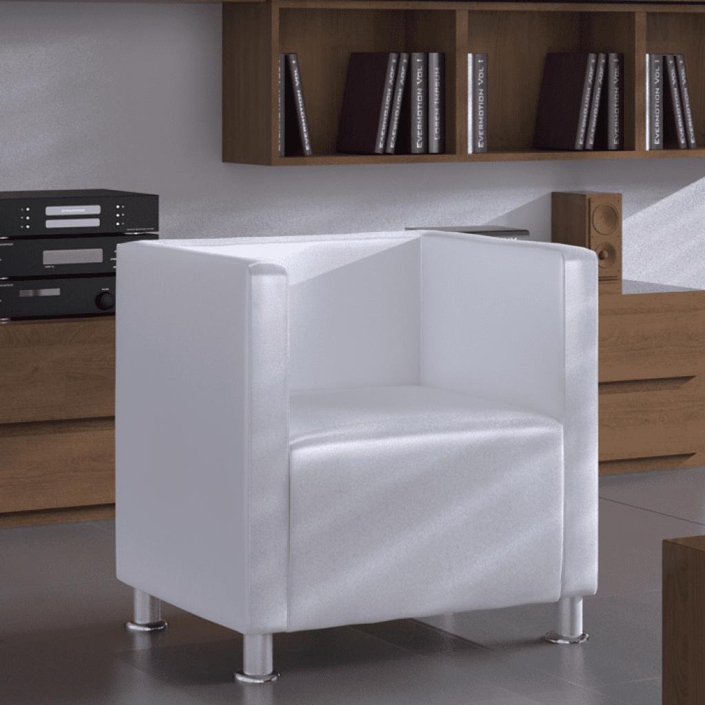 Anself White Artificial Leather Club Armchair Modern Tub Design by