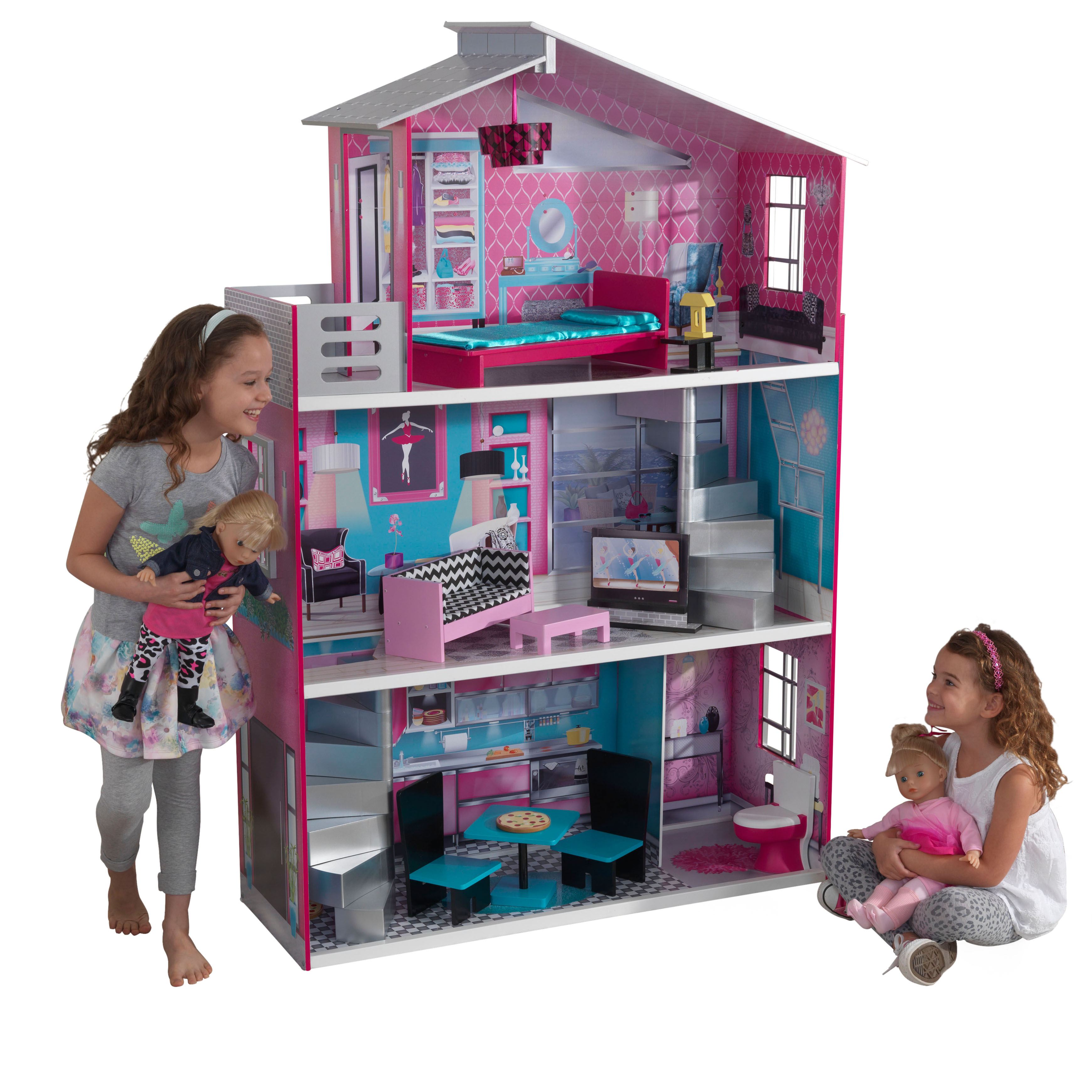 KidKraft Wooden Breanna Dollhouse for 18-Inch Dolls with 12-Piece Accessories