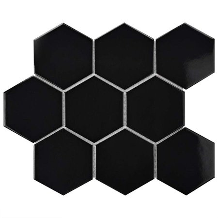 Somertile  10x11.5-inch Victorian Super Hex Glossy Black Porcelain Mosaic Floor and Wall Tile (10 tiles/8.17 (Hen Porcelain)
