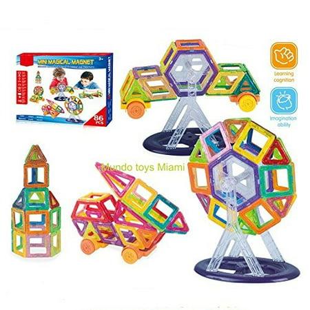 Mini Magnetic Blocks 86 pcs, Magnetic Tiles Building Blocks Magnetic Construction Set Multicolor Educational Toys (Magnetic Building Blocks)