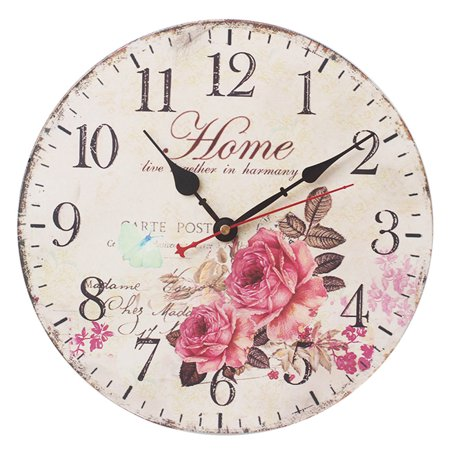 12 Inch Vintage Rustic Country Tuscan Style Silent Wall Clock Home Decor - Type P