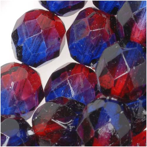 Czech Fire Polished Glass Two Toned Beads 8mm Round Garnet Purple (25)