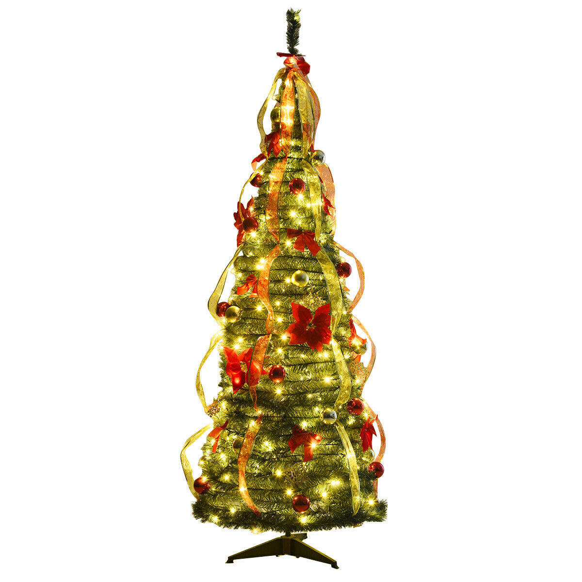 6ft Pre-Lit Christmas Tree Fully Decorated Pull Up Tree ...