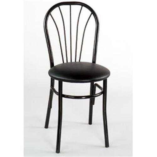 Alston Quality 1896 BLK-Tan Cafe Metal Side Chair With Upholstered Seat Black Frame