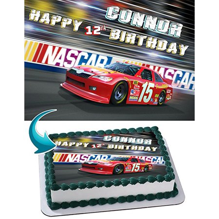 Nascar Racing Cars Edible Image Cake Topper Personalized Birthday 1/4 Sheet Decoration Custom Sheet Party Birthday Sugar Frosting Transfer Fondant ...