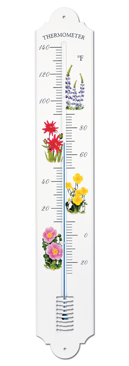 French Enamel Style Outdoor Thermometer Flowers by