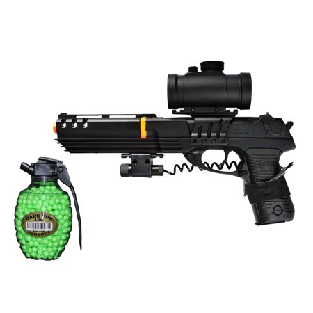 DOUBLE EAGLE KS-91 SPRING AIRSOFT PISTOL W/ RED DOT SCOPE, LASER & BB (Best Red Dot For Ar 15 Pistol)