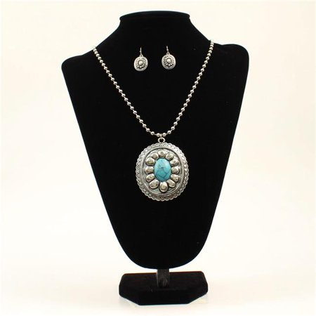 Blazin Roxx 29133 Turquoise Stone Large Oval Pendant Necklace Set, Silver - 27.25 to 30.50 in.