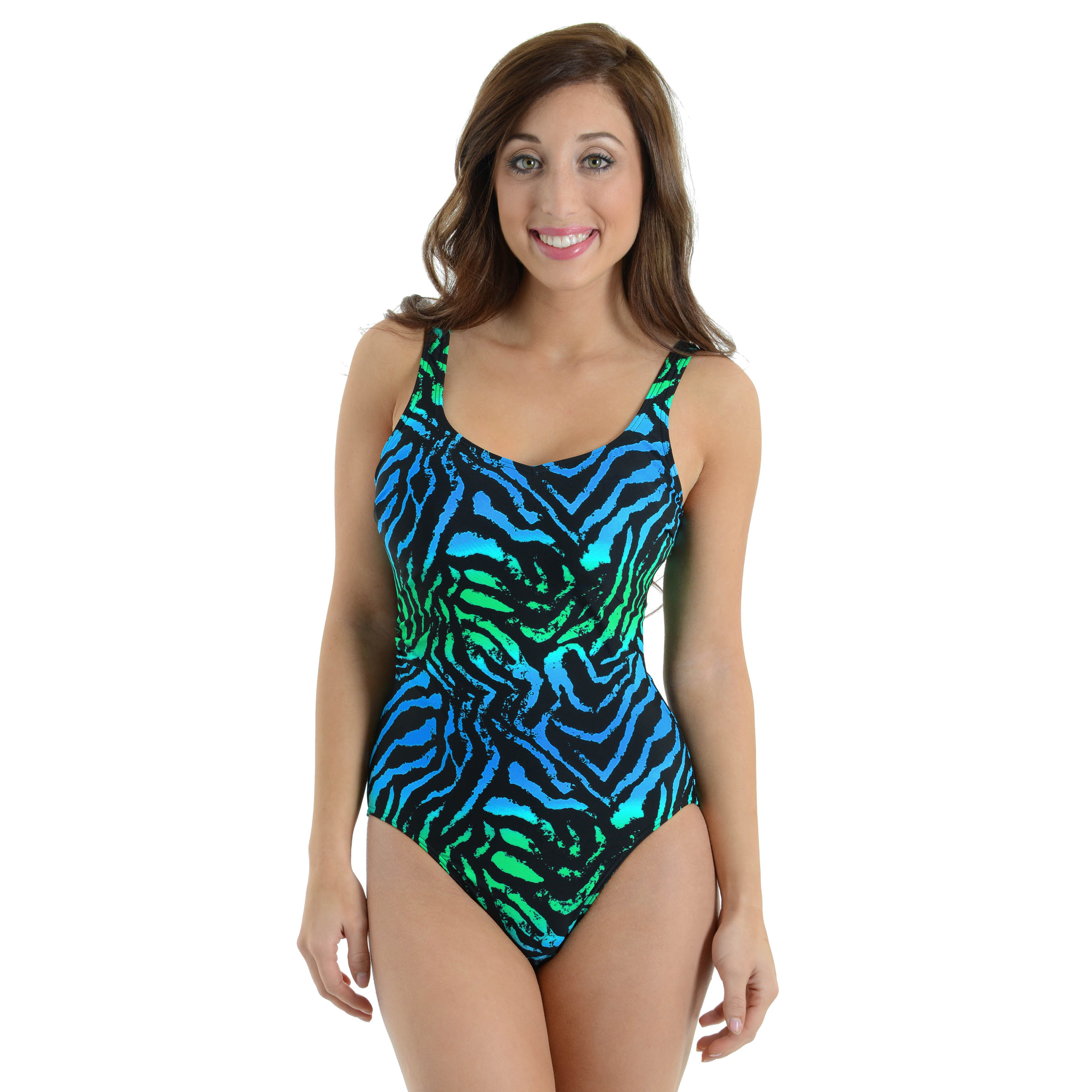 Caribbean Sand Women's Blue Green Zebra Print Bathing Suit 1 Piece Swimsuit