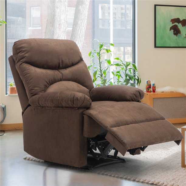 Massage Recliner Chair, Microfiber Ergonomic Lounge Living Room Sofa With Heated Control, Brown - Walmart.com - Walmart.com