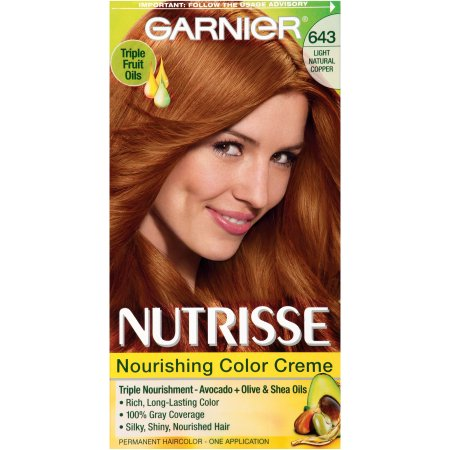 Garnier Nutrisse Permanent Haircolor, Light Natural Copper, 643 1.0 ea(pack of 4)