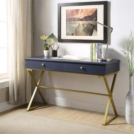 Blue Computer Table (Linon Campaign Blue Desk with Gold Matte Legs)
