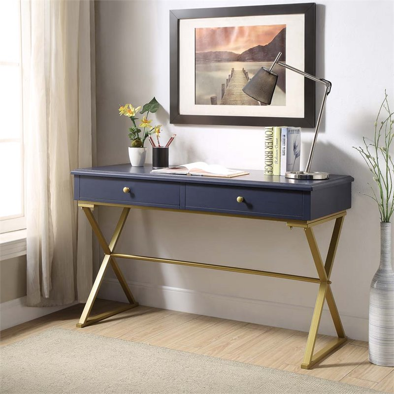 Linon Campaign Blue Desk with Gold Matte Legs