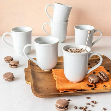- Better Homes & Gardens Porcelain Scalloped Mug, White, Set of 6