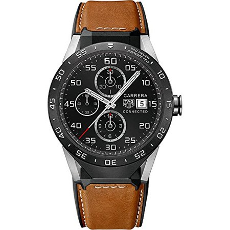 Tag Heuer Connected SAR8A80.FT6070 Connected Brown Calfskin Leather Mens Smar...