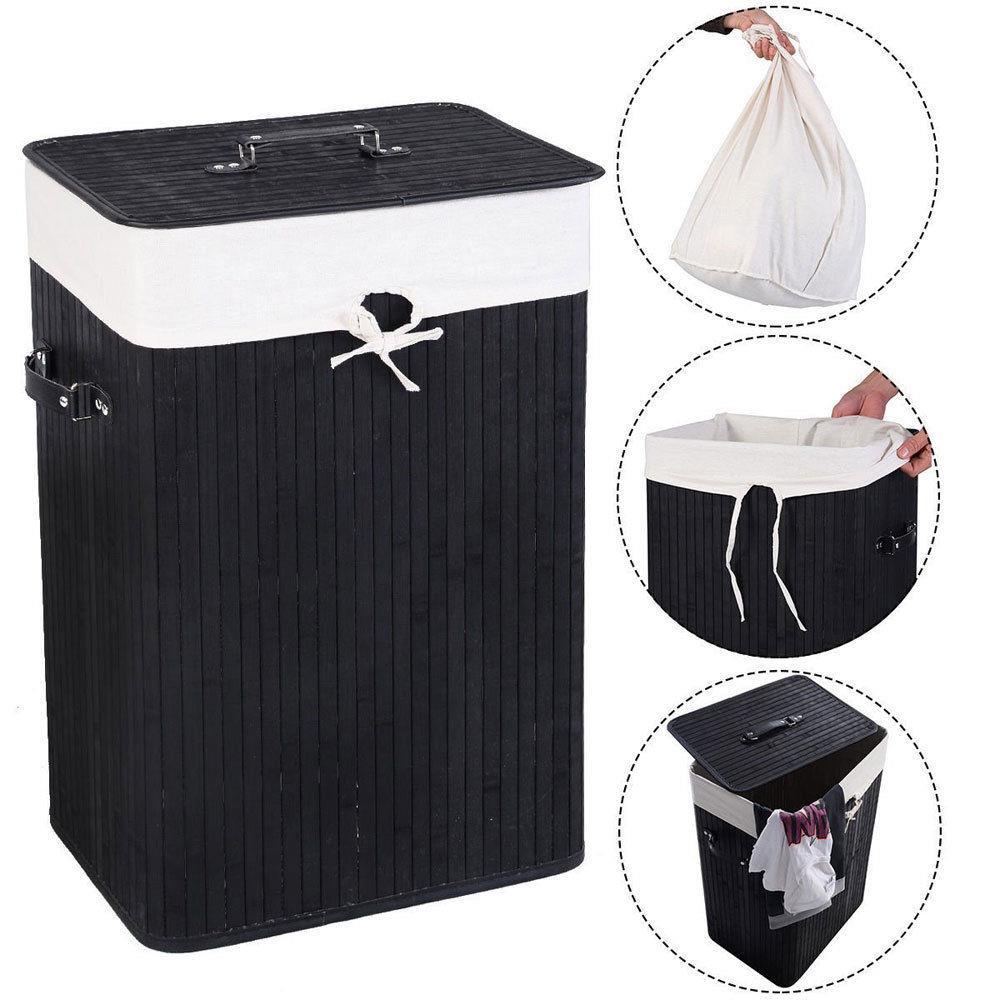 Ktaxon Rectangle Bamboo Hamper Laundry Basket Washing Cloth Bin Rangier Lid Black